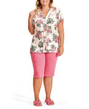 Pijama-Plus-Size-Capri-Lua-Encantada-Aberto-Floral