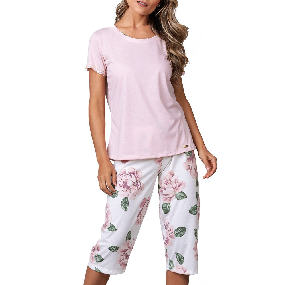 Pijama-Capri-Lua-Cheia-Renda-Malha-Floral