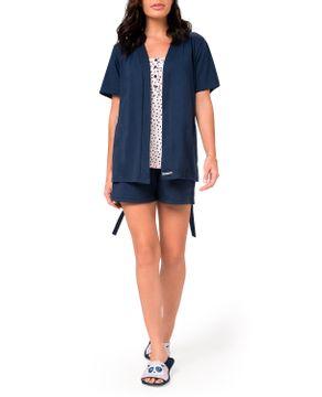 Pijama-Curto-Feminino-3-Pecas-Toque-Algodao-Poa