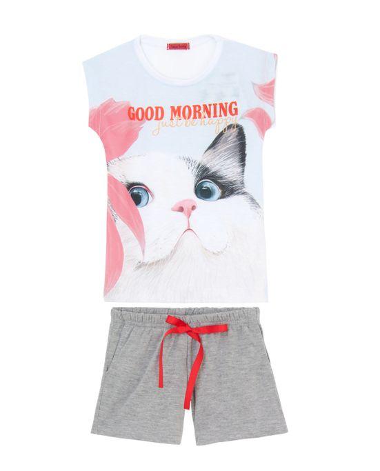 Pijama-Infantil-Feminino-Curto-Toque-Poliplex-Gato