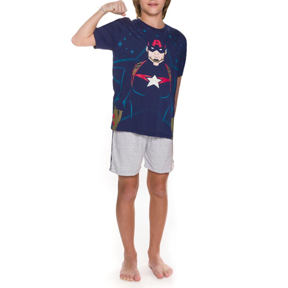 Pijama-Juvenil-Masculino-Marvel-Capitao-America-Algodao