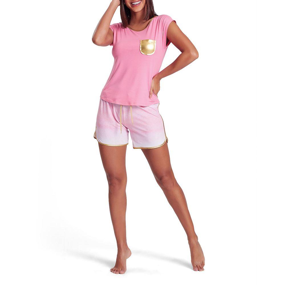 Pijama-Curto-Feminino-Recco-Viscolycra-Bolso-Dourado