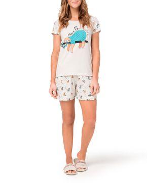 Pijama-Curto-Feminino-Toque-Algodao-Bicho-Preguica