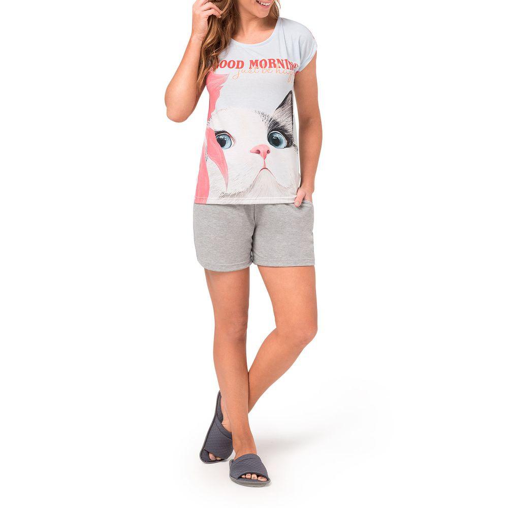 Pijama-Curto-Feminino-Toque-Poliplex-Gato