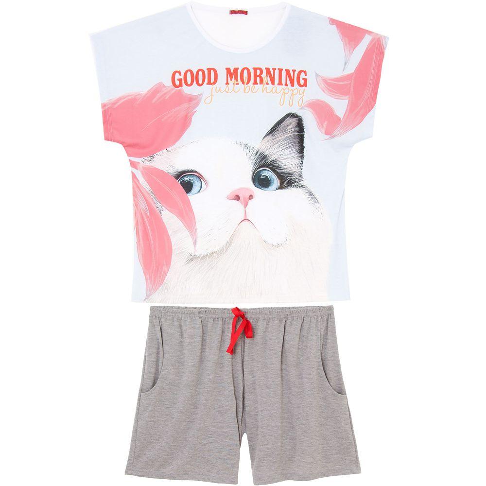 Pijama-Plus-Size-Feminino-Curto-Toque-Poliplex-Gato