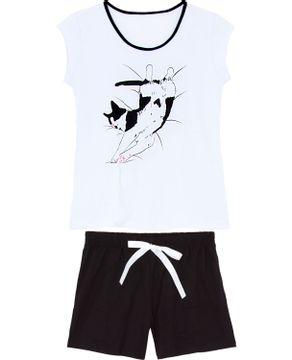 Pijama Curto Feminino Kalm 100% Algodão Gato