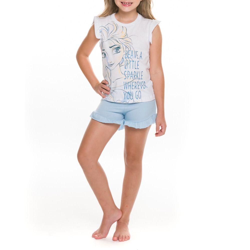 Pijama-Curto-Infantil-Feminino-Disney-Frozen-Algodao