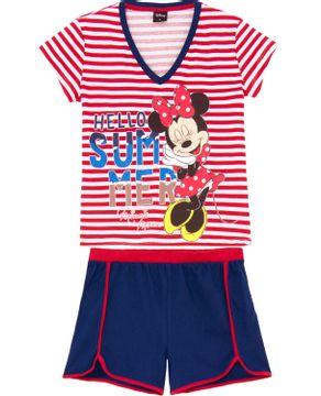 Pijama-Curto-Feminino-Disney-Algodao-Minnie-Listras