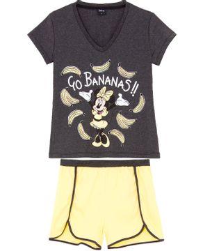 Pijama-Curto-Feminino-Disney-Algodao-Minnie-Bananas