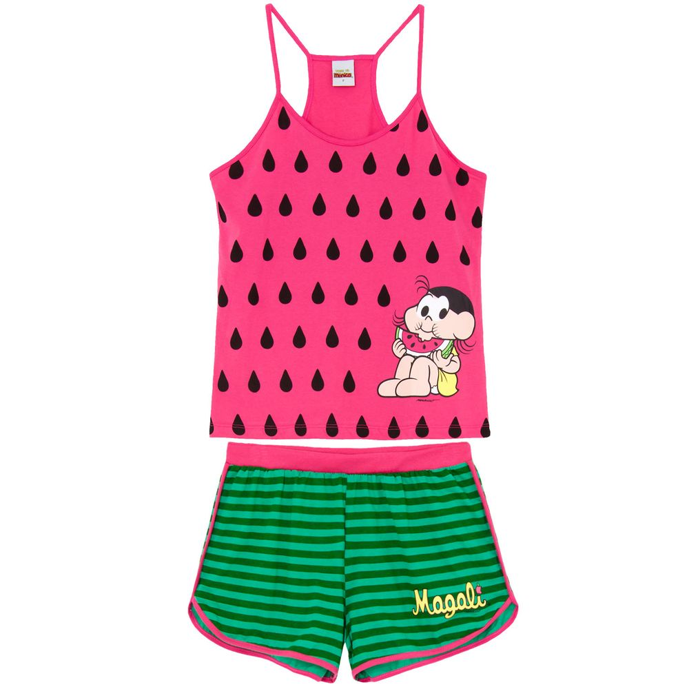 Pijama-Feminino-Turma-da-Monica-Alca-Magali-Melancia
