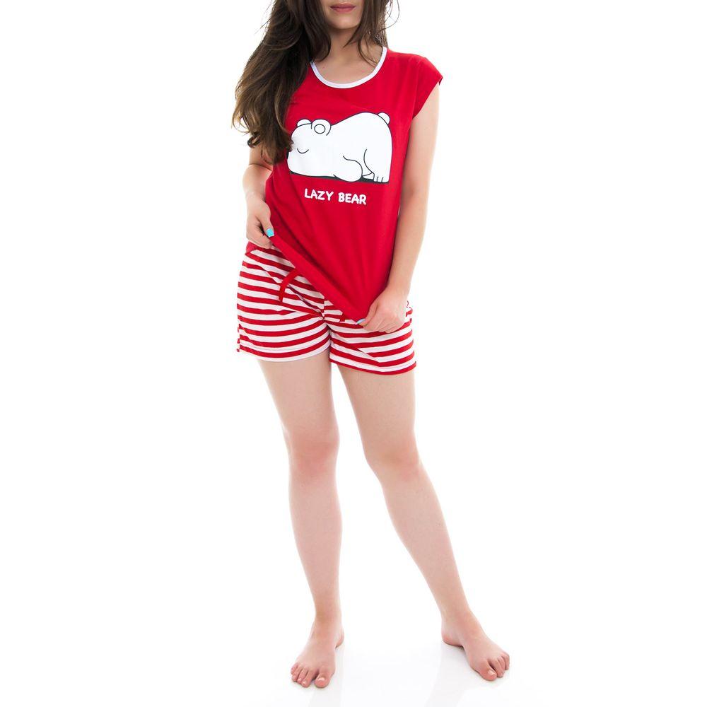 Pijama-Curto-Feminino-Kalm-100--Algodao-Urso-Listras