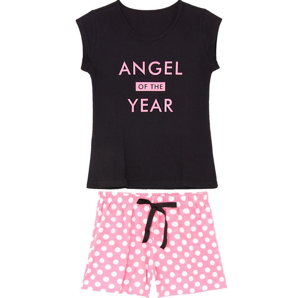 Pijama-Curto-Feminino-Kalm-100--Algodao-Angel-Poa
