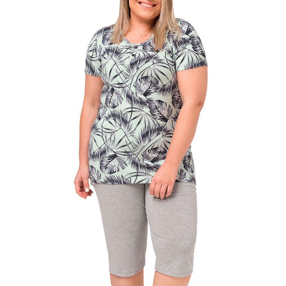 Pijama-Plus-Size-Capri-Toque-Viscolycra-Tropical