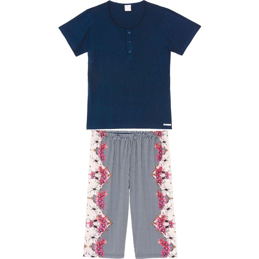 Pijama-Plus-Size-Capri-Toque-Viscolycra-Listras-Floral