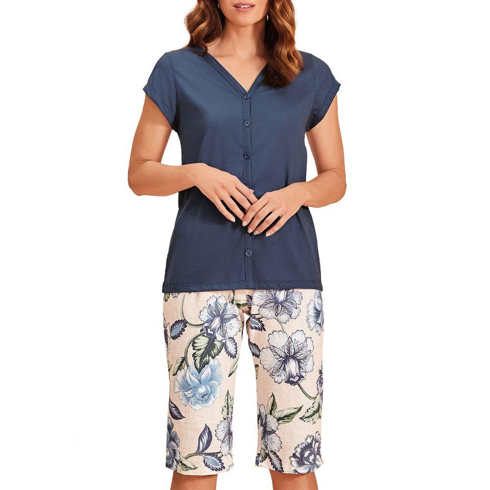 Pijama-Capri-Lua-Encantada-Aberto-Algodao-Floral