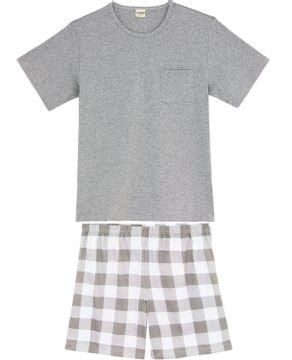 Pijama-Curto-Masculino-Lua-Encantada-Algodao-Xadrez