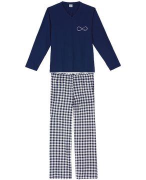 Pijama-Masculino-Longo-Lua-Encantada-Algodao-Xadrez