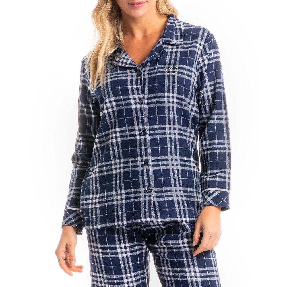 Pijama-Feminino-Aberto-Flanela-Daniela-Tombini-Xadrez