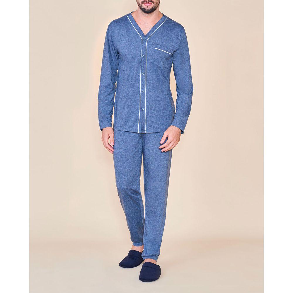 Pijama-Longo-Masculino-Aberto-Lua-Cheia-Malha-Mescla