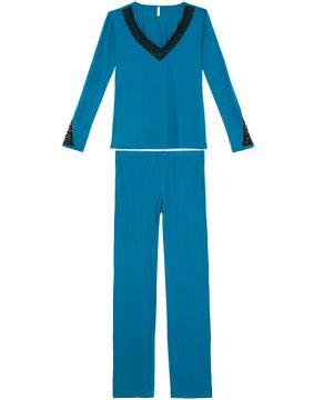 Pijama-Feminino-Longo-Joge-Malha-Renda