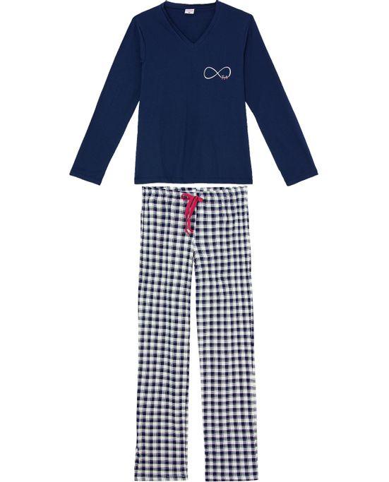 Pijama-Feminino-Longo-Lua-Encantada-Algodao-Xadrez