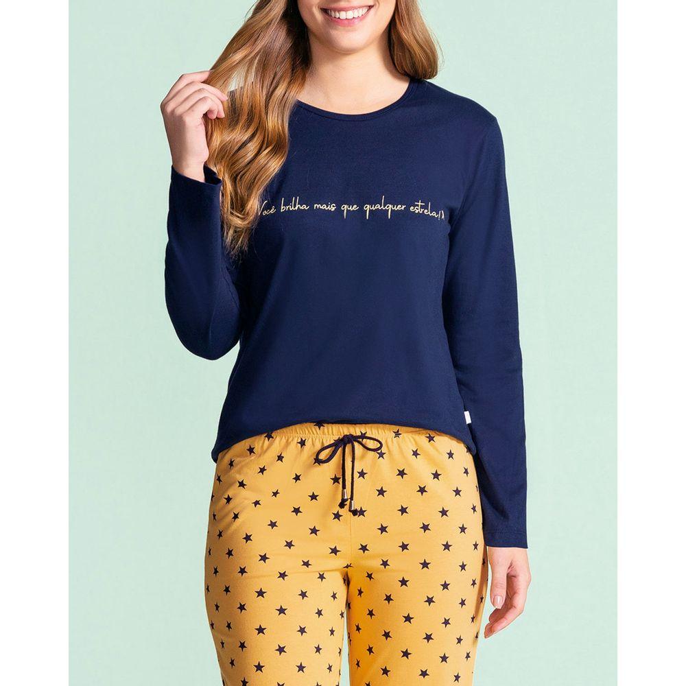 Pijama-Feminino-Lua-Encantada-Algodao-Calca-Estrelas