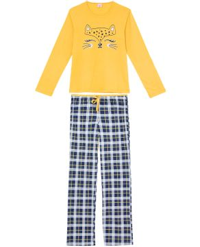 Pijama-Feminino-Lua-Encantada-Algodao-Onca-Xadrez
