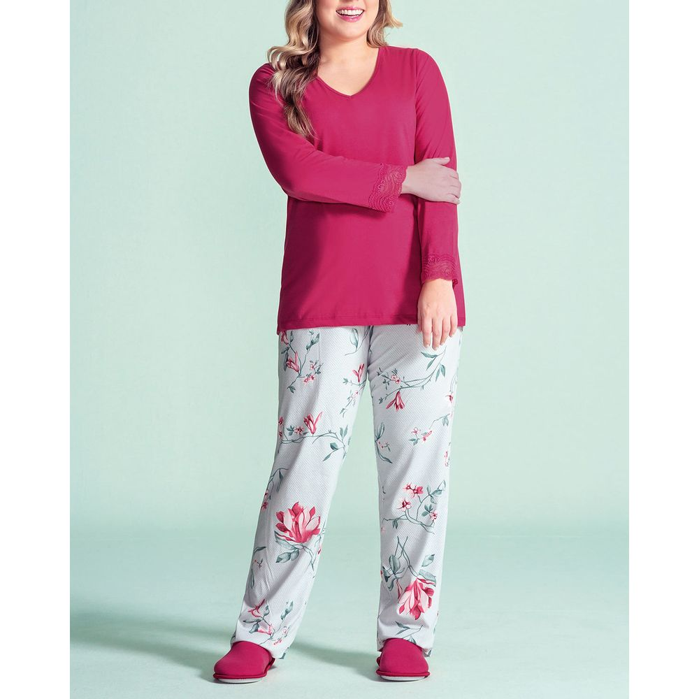 Pijama-Plus-Size-Feminino-Lua-Encantada-Calca-Floral