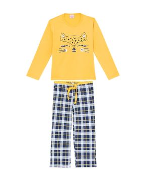 Pijama-Infantil-Feminino-Lua-Encantada-Onca-Xadrez