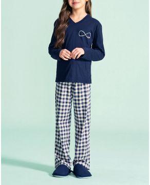Pijama-Infantil-Feminino-Lua-Encantada-Calca-Xadrez