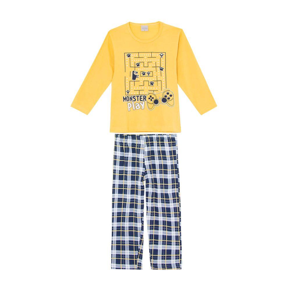 Pijama-Infantil-Masculino-Lua-Encantada-Xadrez-Pac-Man