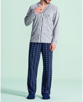 Pijama-Masculino-Aberto-Lua-Encantada-Calca-Xadrez