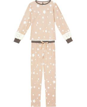 Pijama-Feminino-Longo-Lua-Lua-Cotton-Estrelas-Punho