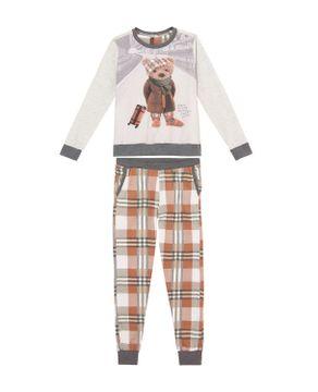 Pijama-Infantil-Feminino-Lua-Lua-Malha-Urso-Xadrez
