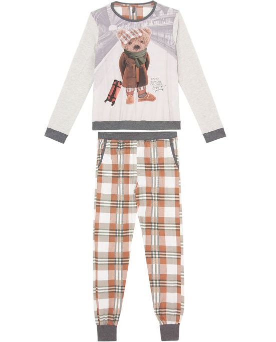 Pijama-Feminino-Lua-Lua-Malha-Urso-Calca-Xadrez