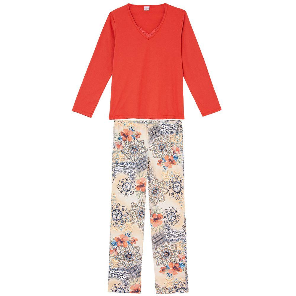 Pijama-Feminino-Lua-Encantada-Renda-Algodao-Floral