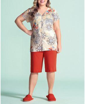 Pijama-Plus-Size-Capri-Aberto-Lua-Encantada-Floral