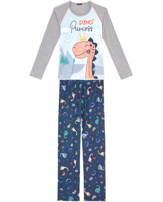 Pijama-Feminino-Longo-Toque-Malha-Mescla-Dinossauro