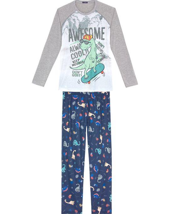 Pijama-Masculino-Longo-Toque-Malha-Mescla-Dinossauro