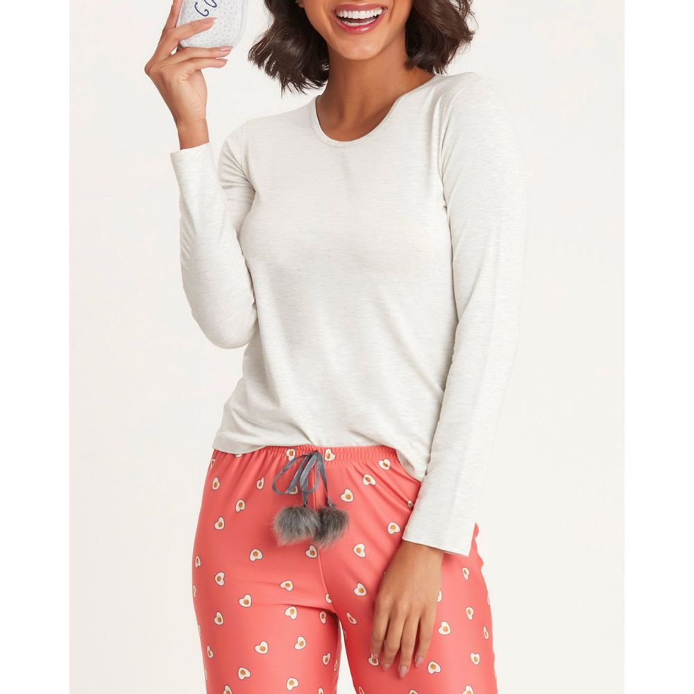 Pijama-Feminino-Recco-Calca-Cetim-Flanelado-Ovo-Frito