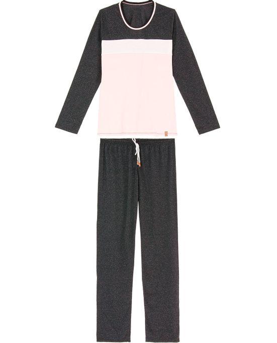 Pijama-Feminino-Longo-Recco-Viscolinen-Recortes