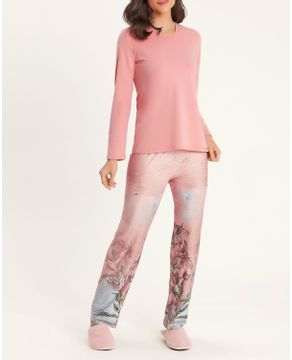 Pijama-Feminino-Recco-Malha-Plume-Cetim-Flanelado-Floral