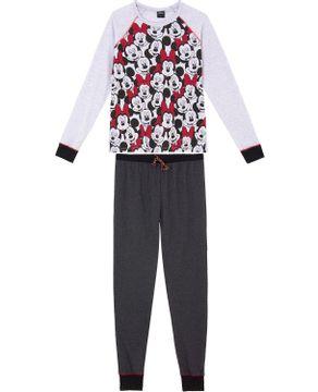 Pijama-Feminino-Longo-Minnie-Disney-Algodao-Punhos
