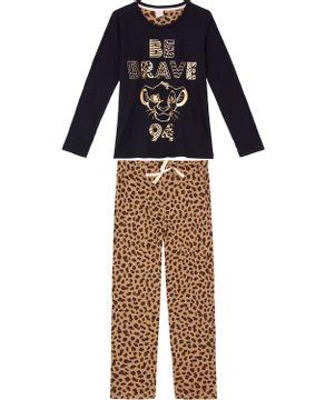 Pijama-Feminino-Longo-Disney-Algodao-Rei-Leao-Foil