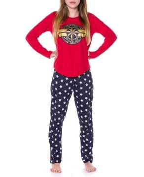 Pijama-Feminino-Capita-Marvel-Algodao-Calca-Estrelas