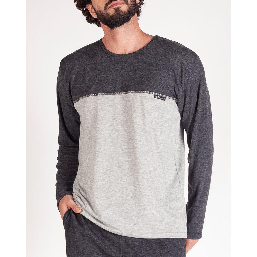 Pijama-Masculino-Longo-Toque-Malha-Mescla-Recorte