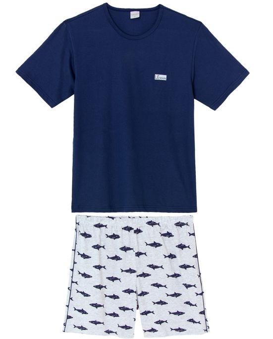 Pijama-Masculino-Curto-Lua-Encantada-Algodao-Tubarao