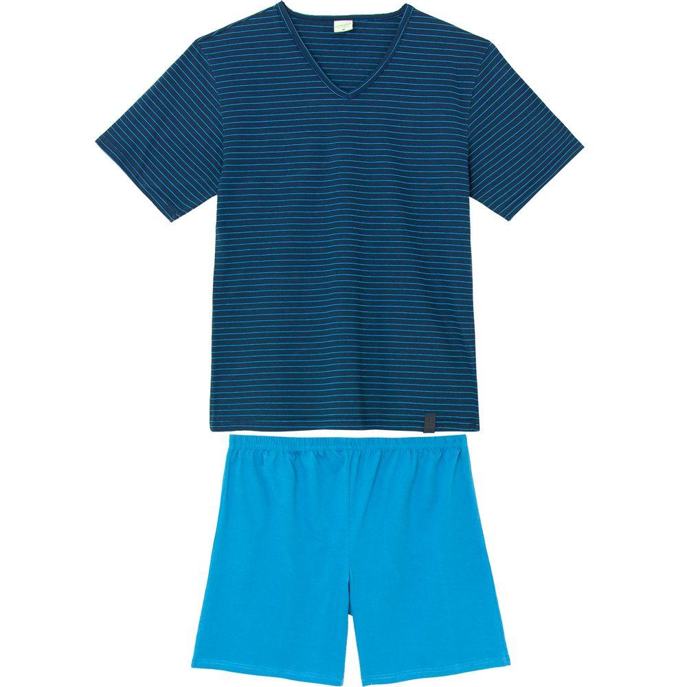 Pijama-Masculino-Curto-Lua-Encantada-Algodao-Listras