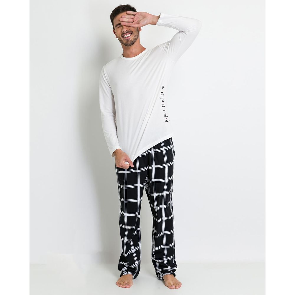 Pijama-Masculino-Acuo-Calca-Xadrez-Friends
