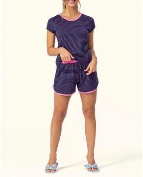 Pijama-Feminino-Curto-Lua-Encantada-Listras-Neon